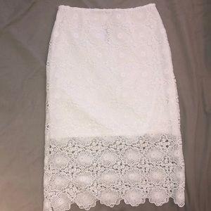 beautiful knee length crochet skirt